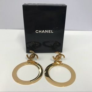 Vintage Chanel Jumbo Hoop CC Logo Earrings w Box